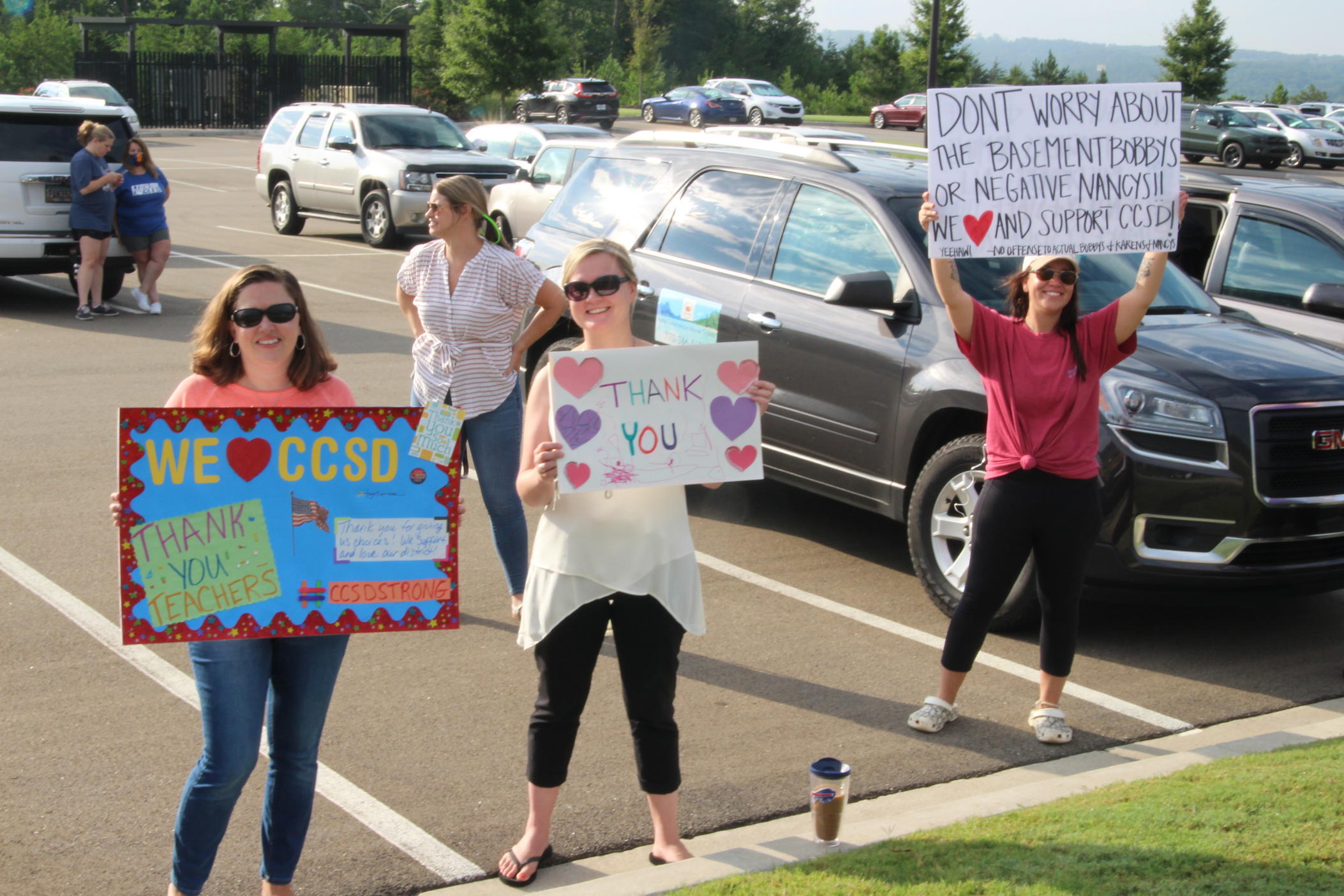 women rally in Canton, Georgia, Aug. 11, 2020.