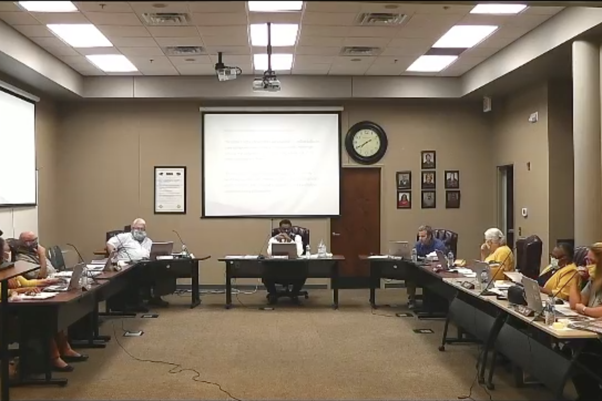 A screenshot from a Sumter County School Board meeting from Oct. 8, 2020, that was streamed on the school district's Facebook page.