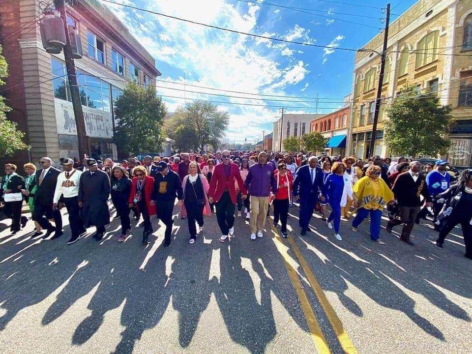 Members of the Divine Nine Black fraternities and sororities marched in Selma for the 50th anniversary of Bloody Sunday.