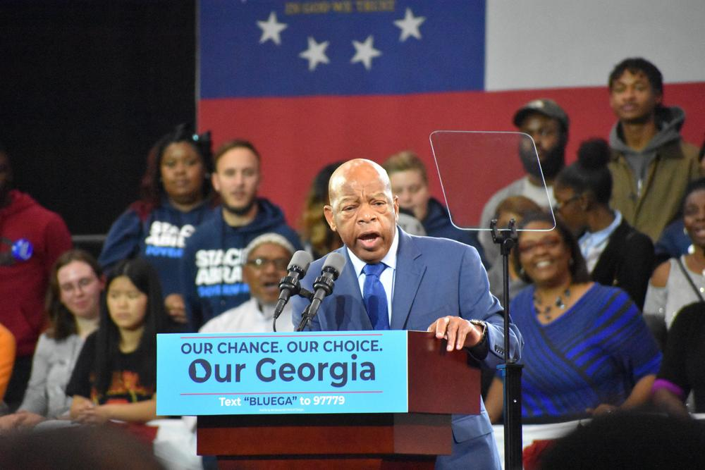 Rep. John Lewis speaks at a campaign event for Stacey Abrams in 2018.