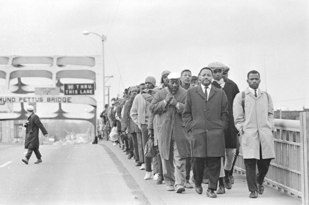 John Lewis with fellow protesters at the Edmund Pettus Bridge in Selma, Alabama, 1965.