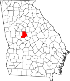 Georgia map showing location of Monroe County