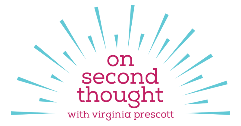 """""""On Second Thought"""" blue and pink logo"""