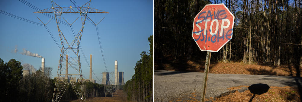 Georgia Power's Plant Scherer, left, and a graffitied sign not far from the plant in Juliette, right.