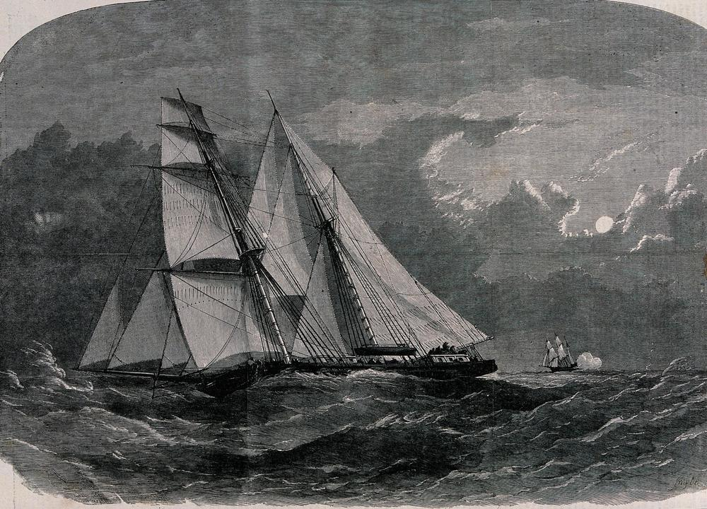 Slave ships on the ocean. Wood engraving by Smyth.