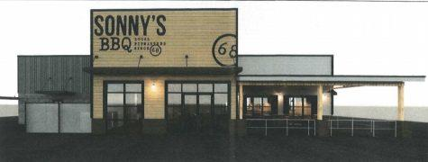 The design for a new Sonny's BBQ proposed for 5811 Zebulon Road would include a covered patio.