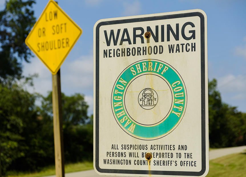 A Neighborhood Watch sign at the limits of the town of Deepstep in Washington County, where Eurie Marting was killed in 2017.