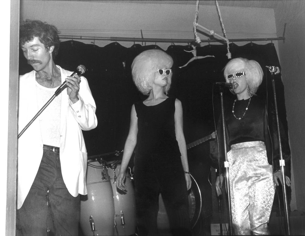 Fred Schneider, Cindy Wilson (middle), and Kate Pierson of the B-52's perform during the band's debut at an Athens, Georgia, Valentine party.