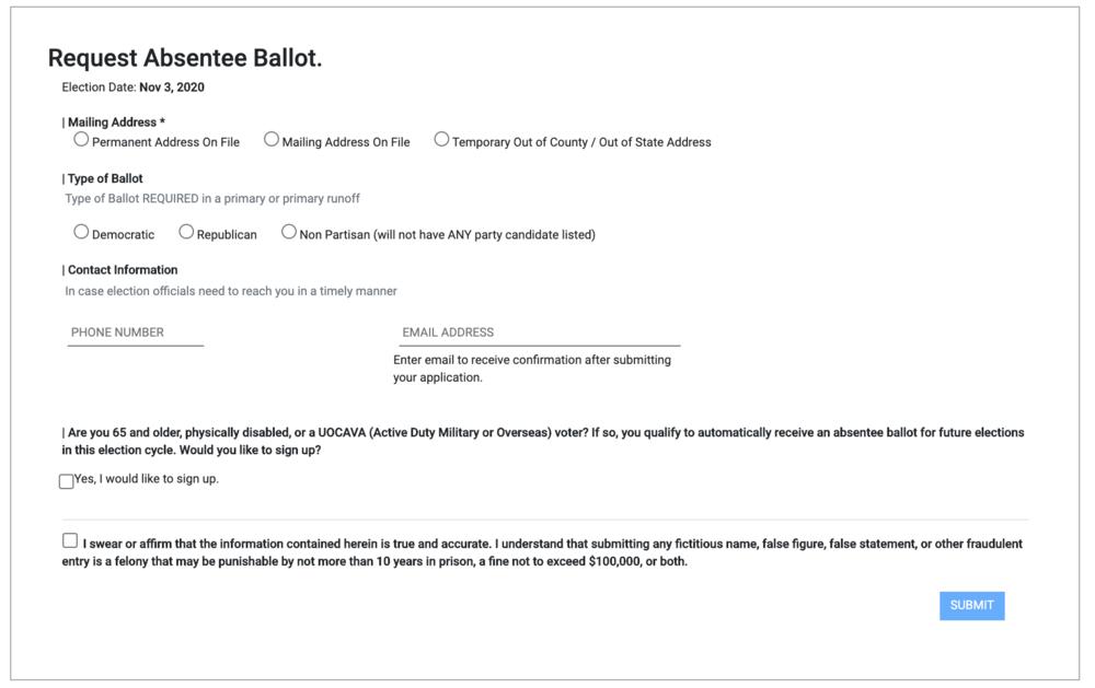 Georgians can now request an absentee ballot online.