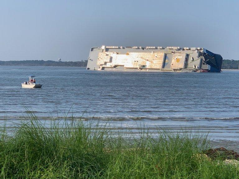 The Georgia Water Coalition's 'Dirty Dozen' offenders list for 2019 includes the disaster of the oil spill from the Golden Ray, a vehicle carrier that's shown here soon after it capsized in St. Simons Sound in early September.