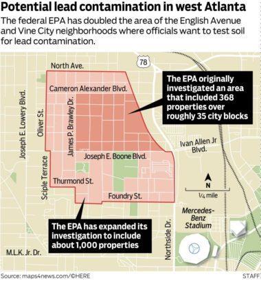 Map of potential lead contamination in West Atlanta