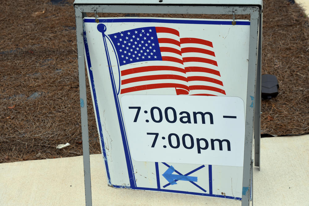 A sign directs voters to the polls in Gwinnett County.