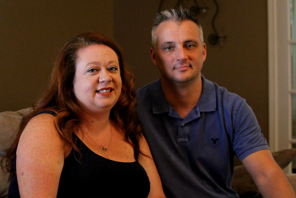 Stephanie and Shane Osterhout in their living room.