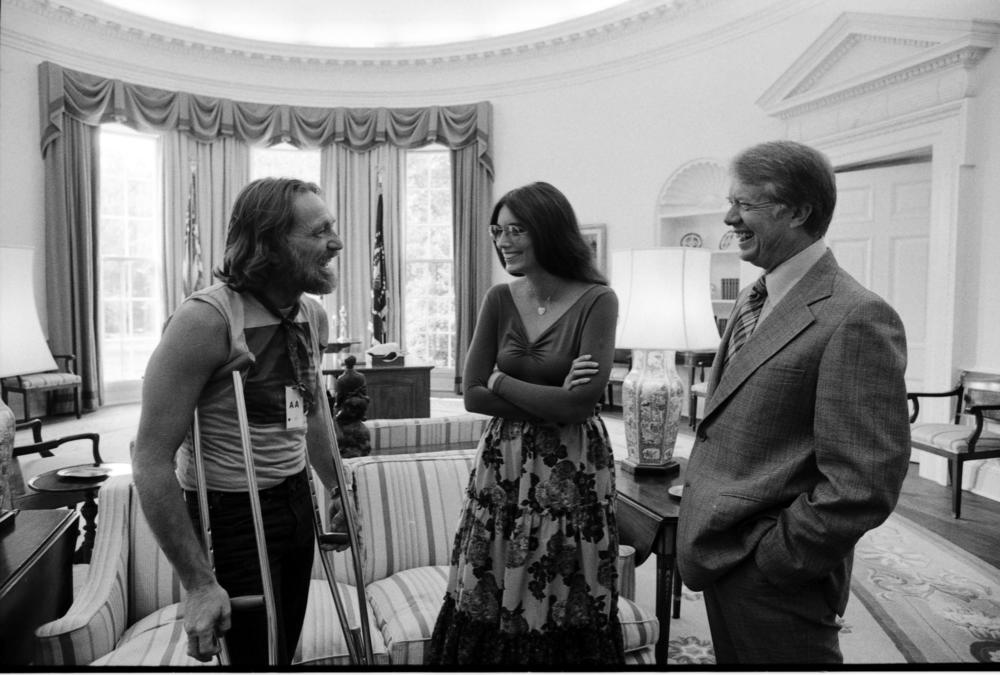 Willie Nelson and Emmylou Harris with Jimmy Carter