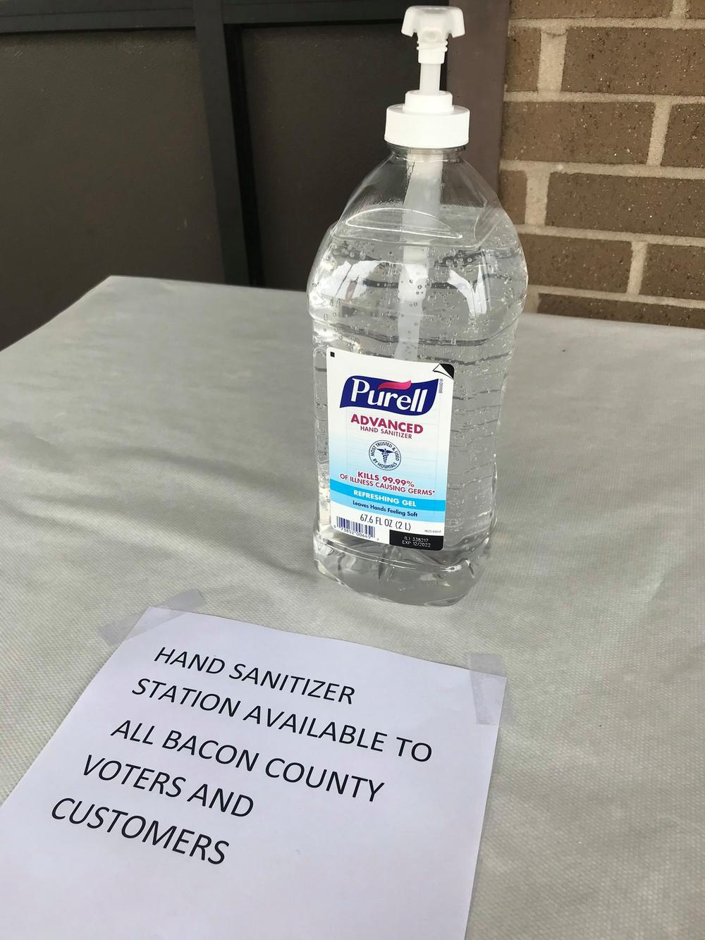 The Bacon County Elections Office has hand sanitizer for voters and visitors because of the COVID-19 pandemic.