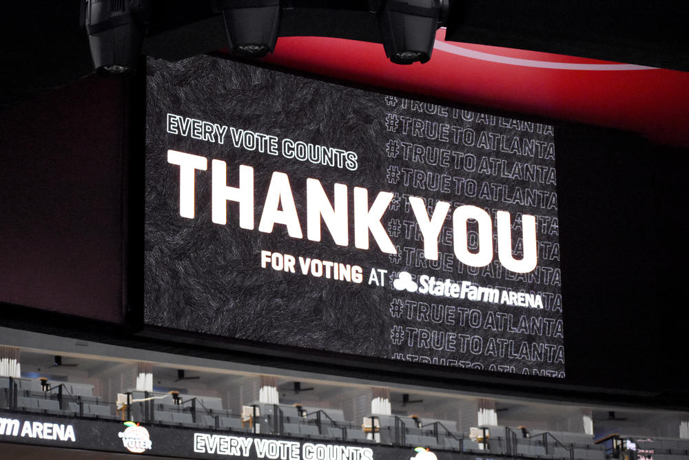 A sign thanks voters for voting at State Farm Arena in Atlanta.