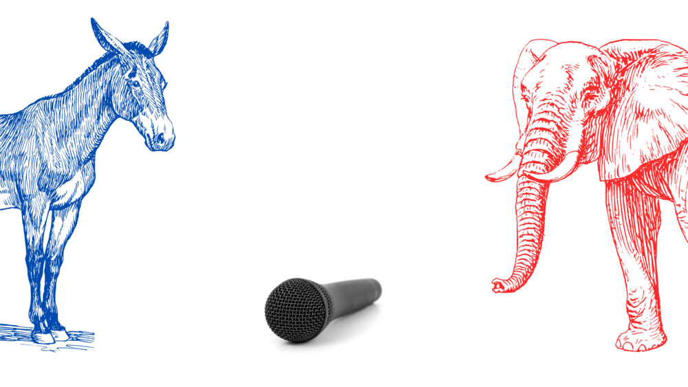 An illustration depicting a donkey (for Democrats) and an elephant (for Republicans) facing off at a microphone.