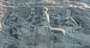 Started in the early 20th Century, Stone Mountain Park's Confederate memorial was finished and dedicated in 1970. It is the largest bas relief sculpture in the world.