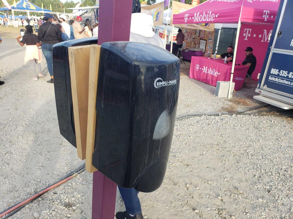 A hand sanitizer station at the 2020 Georgia State Fair.
