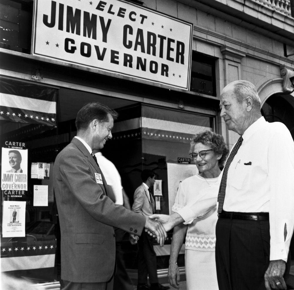 Jimmy Carter shaking hands with voters on while running for Georgia governor.