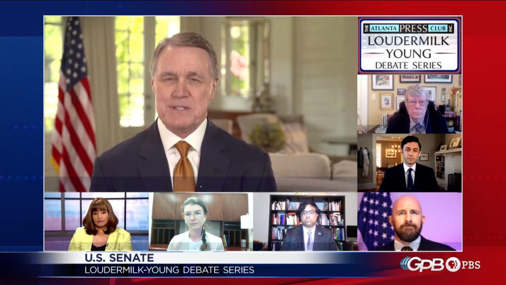Sen. David Perdue speaks at an Atlanta Press Club debate with Democrat Jon Ossoff and Libertarian Shane Hazel.