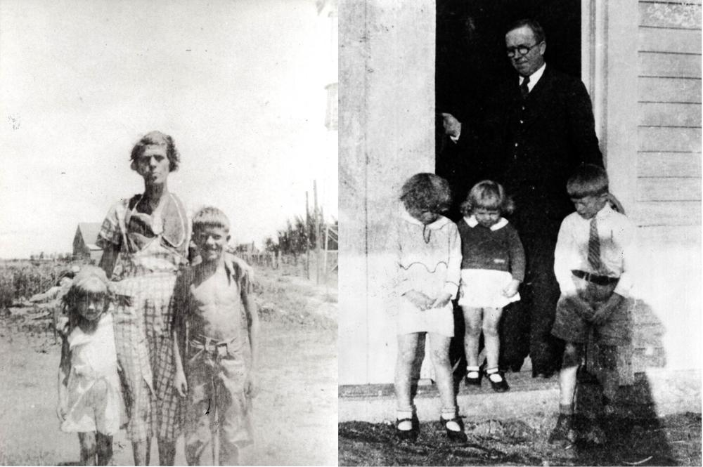 Left: Ruth, Lillian, and Jimmy Carter circa 1933. Right: Earl Carter with Jimmy, Ruth and Gloria, Easter Sunday, 1932.
