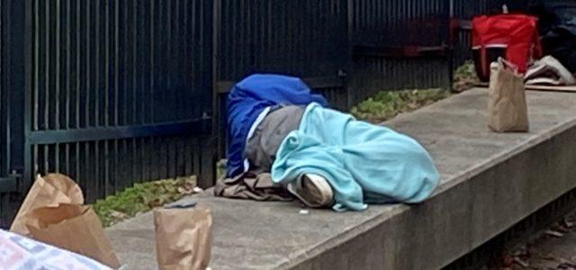 Homeless person on the street in Atlanta.