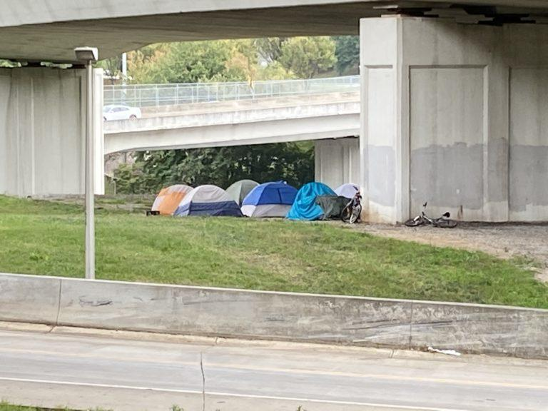 Homeless camp under an Atlanta interstate