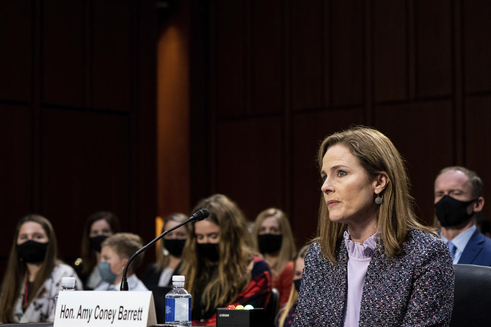 Supreme Court nominee Amy Coney Barrett listens during a confirmation hearing before the Senate Judiciary Committee, Wednesday, Oct. 14, 2020, on Capitol Hill in Washington.