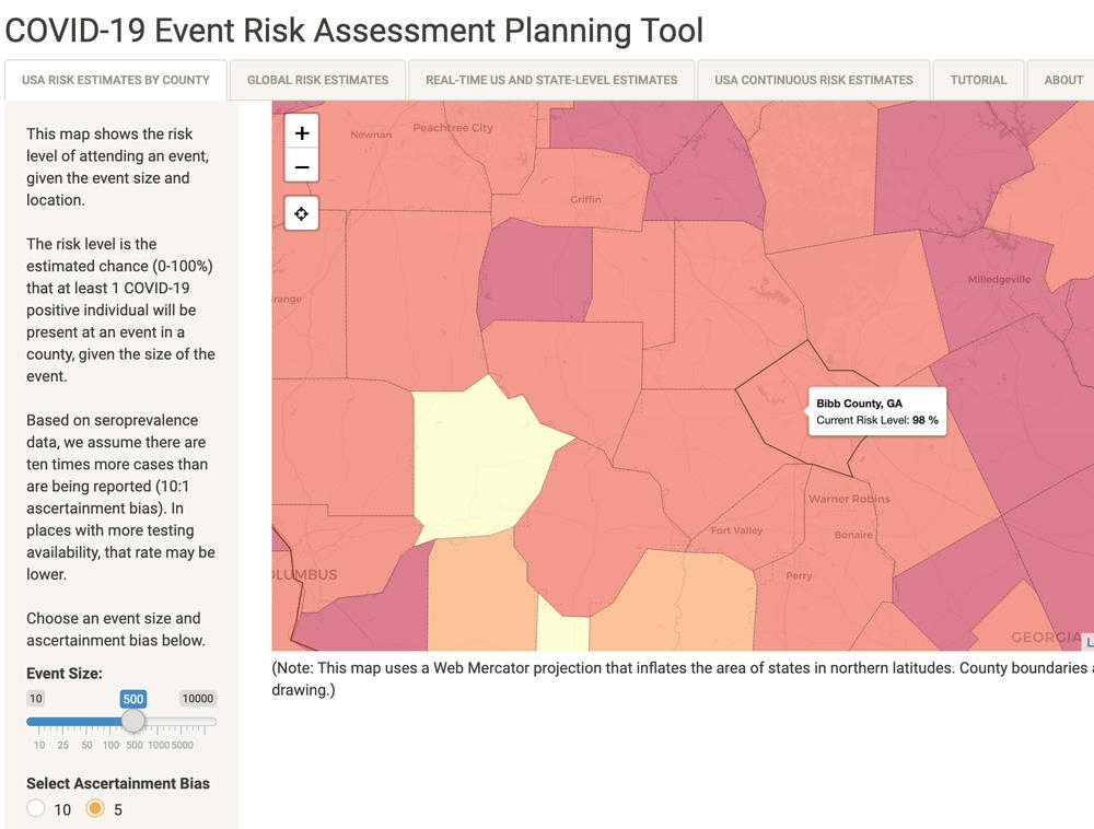 The Georgia Tech COVID-19 Event Risk Assessment Tool currently puts the risk of encountering someone with COVID-19 in a crowd of 500 at 98%.