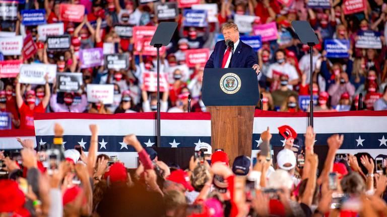 President Donald Trump arrives to his Make America Great Again campaign rally at the Middle Georgia Regional Airport in Macon in October 2020.
