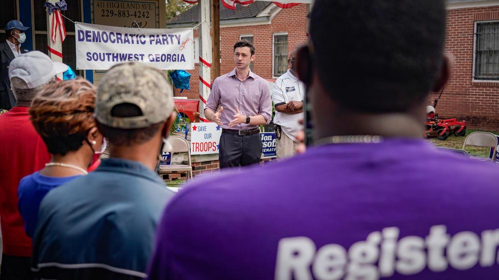 Democratic Senate candidate Jon Ossoff speaks in Albany.