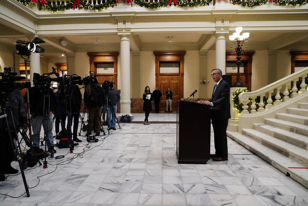 Georgia Secretary of State Brad Raffensperger speaks during a news conference on Friday, Nov. 20, 2020, in Atlanta.