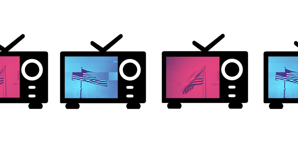 An illustration of a series of television sets with blue and red stylized photos of American flags.