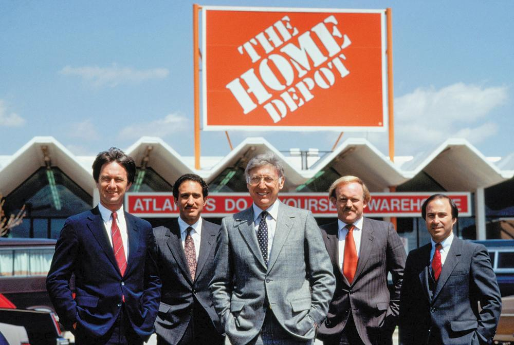 Home Depot co-founders pictured in 1979, a year after the first store opened. Left to right: Dennis Ross, Arthur Blank, Bernie Marcus, Pat Farrah, Ron Brill.   Photo courtesy of The Home Depot Archives
