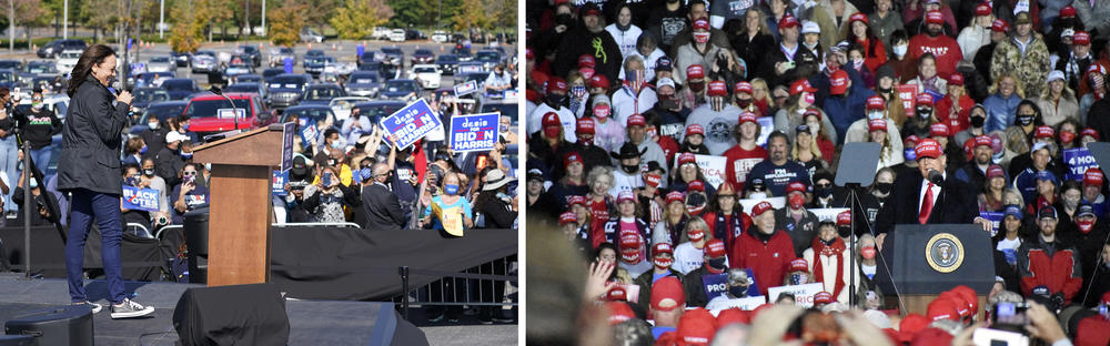 Democratic vice presidential candidate Sen. Kamala Harris speaks to supporters in Duluth, Nov. 1, 2020, as President Trump campaigns the same day in Rome.