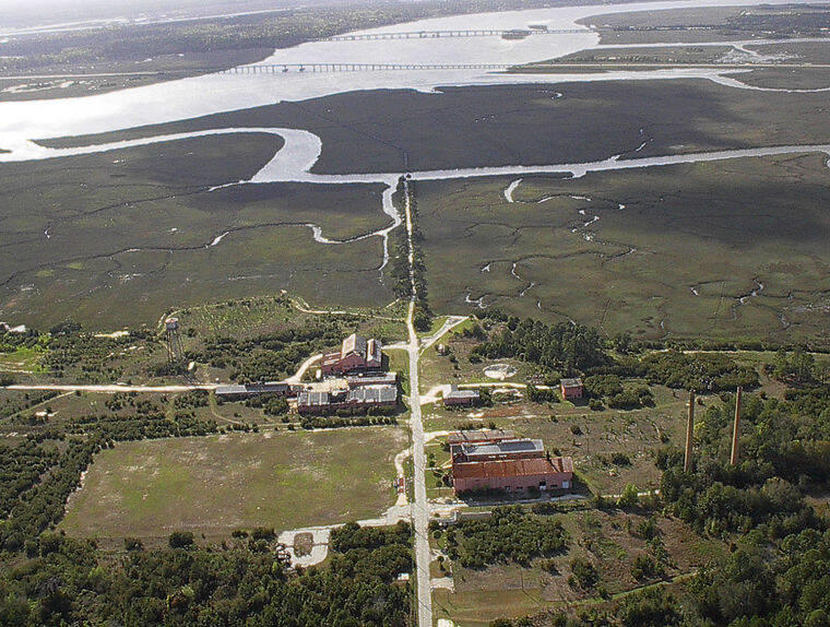 An aerial view of the LCP Chemical Superfund site in Brunswick, Georgia.
