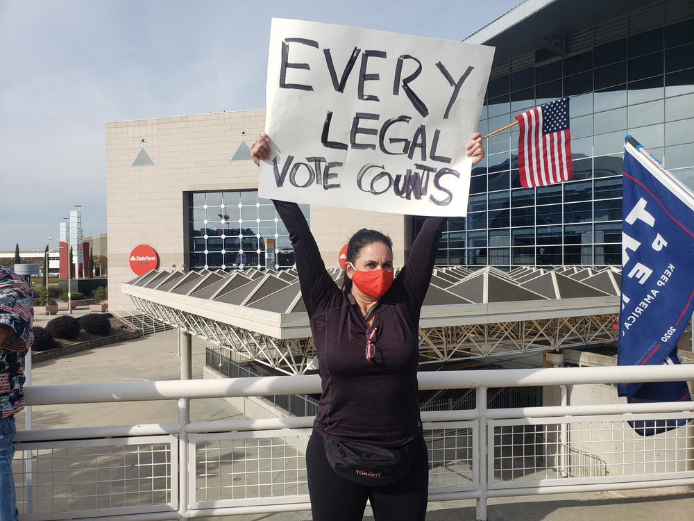 Trump Supporter Protests Outside State Farm Arena