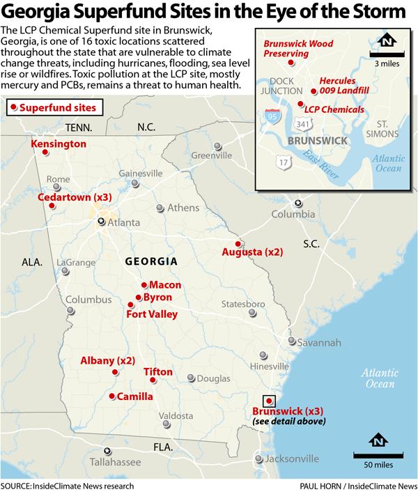 Map of Georgia Superfund sites.