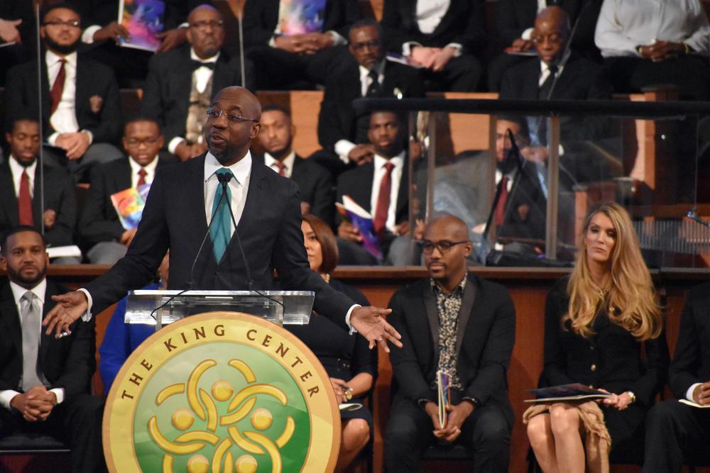 Rev. Raphael Warnock speaks at the annual MLK Commemorative Service in Atlanta.