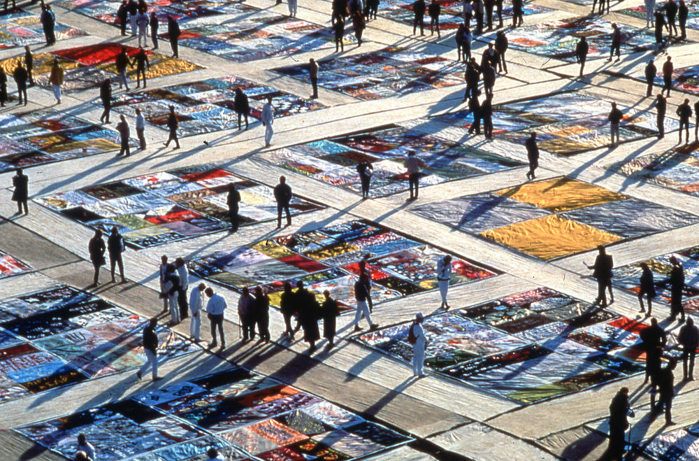 The AIDs Quilt on the National Mall in Washington, D.C. viewed from above.