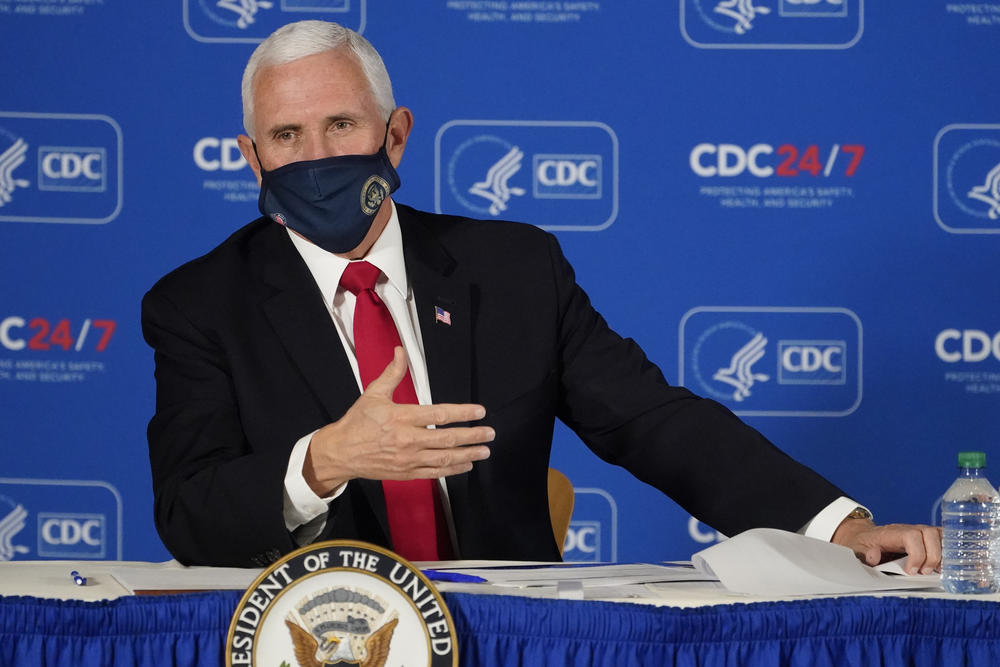 Vice President Mike Pence speaks during a briefing on COVID-19 at the Centers for Disease Control and Prevention Friday, Dec. 4, 2020, in Atlanta.