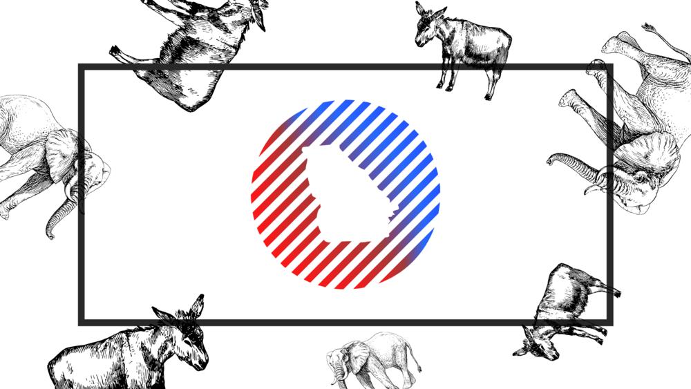 An illustration of elephants and donkeys.