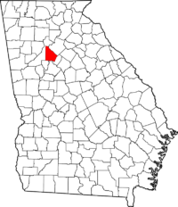 Map of Georgia showing location of DeKalb County