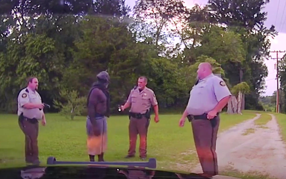 A frame from dashboard video recorded by Washington County Sheriff's Deputies moments before they tased Eurie Lee Martin to death in 2017.