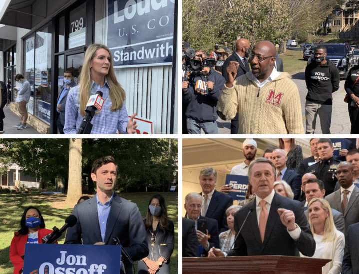 Georgia voters will get the rare opportunity to send two candidates to the U.S. Senate in a Jan. 5 runoff. At top, appointed GOP U.S. Sen. Kelly Loeffler is set to face Democrat Rev. Raphael Warnock. Bottom left is Democrat Jon Ossoff who will face incumbent Republican U.S. Sen. David Perdue.