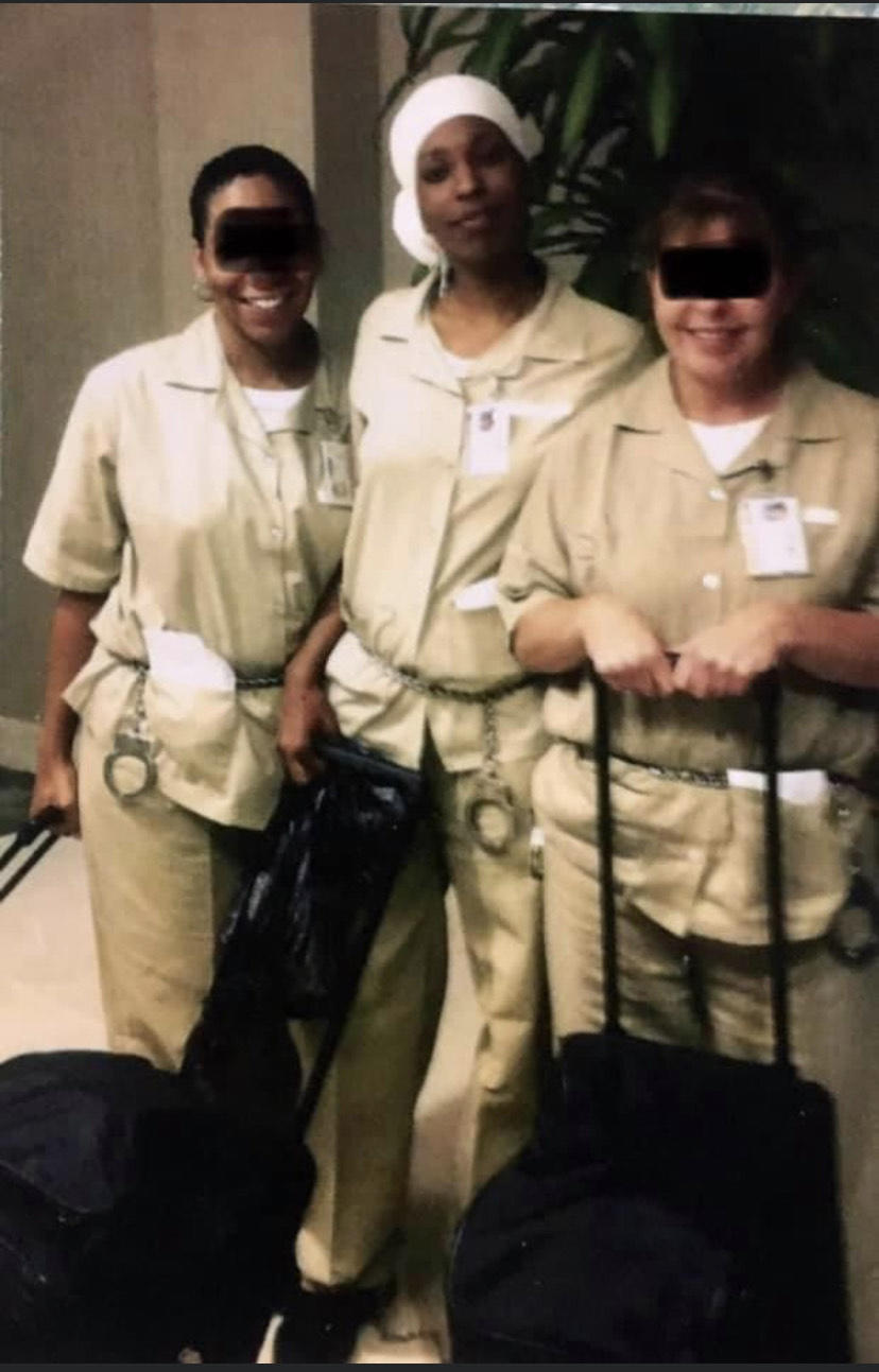Kareemah Hanifa, center, studied for and took her cosmetology exam during her incarceration. (Hanifa redacted fellow inmates' faces for privacy concerns.)