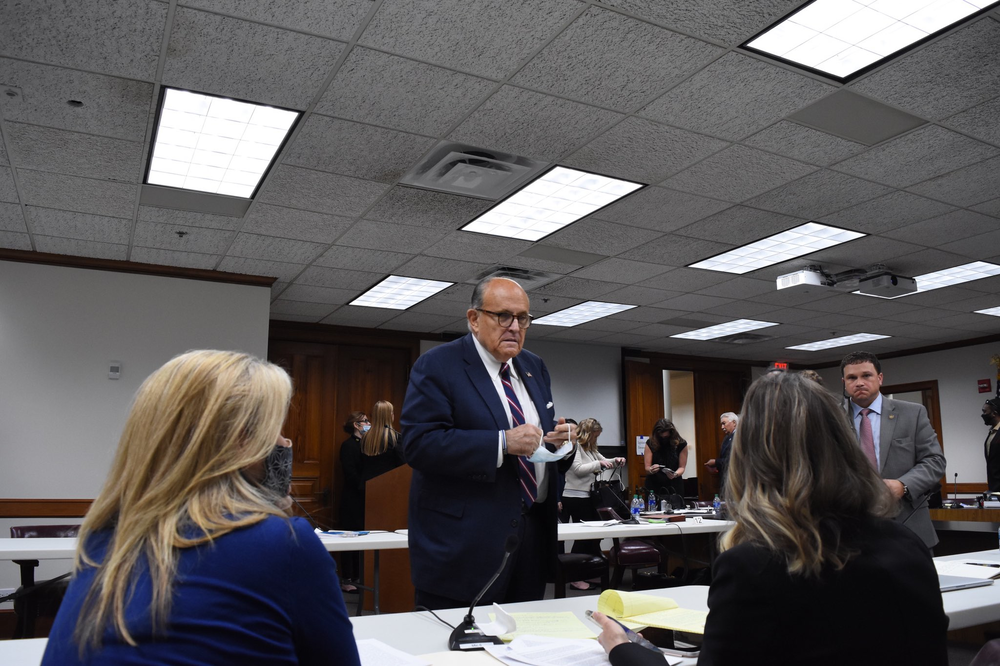 [5:15 PM] Stephen Fowler     President Trump's personal attorney Rudy Giuliani tested positive for COVID-19, according to the president. Here, Giuliani speaks to two Democratic state senators at a hearing in Atlanta Thursday