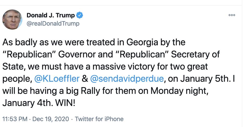 Trump Rally Tweet