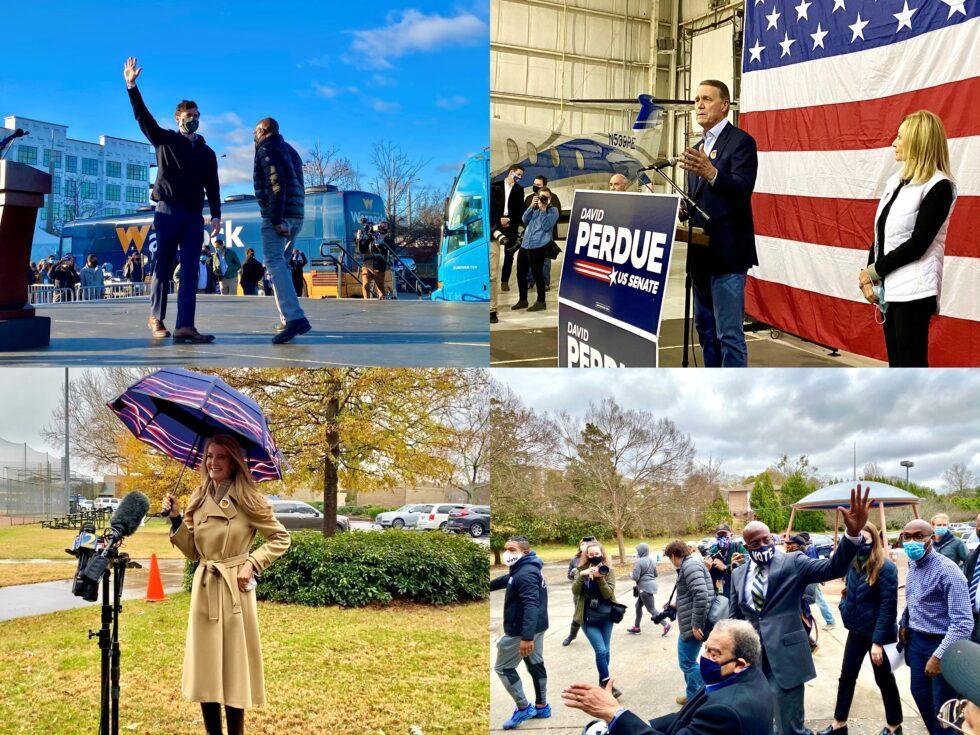 Clockwise: Jon Ossoff, U.S. Sen. David Perdue, Rev. Raphael Warnock and U.S. Sen. Kelly Loeffler are competing for Georgia's two Senate seats in the runoff elections on Jan. 5, 2021.